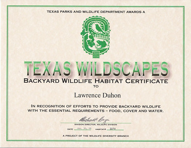 Texas Wildscapes Certification