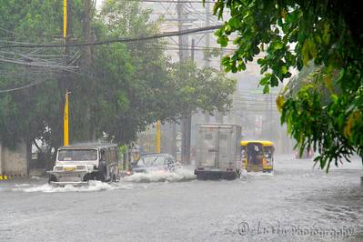 Images taken in Manila a few hours after the typhoon Frank (fengshen) hit the capital of Philippines. Cars taking the risk to cross an heavy flooded boulevard.