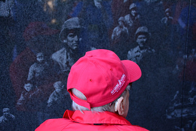 A thoughtful moment at the Korean Memorial.