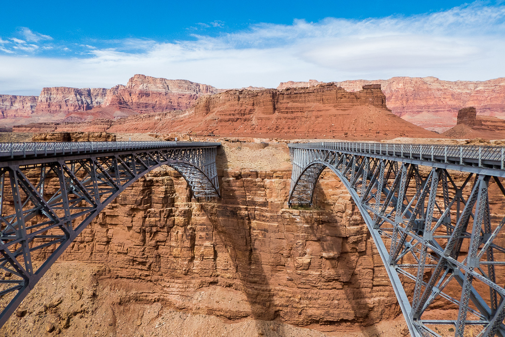 Vehicle and pedestrian bridges at Marble Canyon