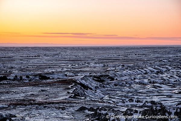 Badlands Snow Sunset