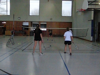 Christine ... need to work on the backhand clear.  Sophia ... nice net kill!