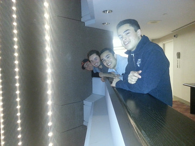 The boys perched on the 4th floor balcony at the Markham Hilton Suites