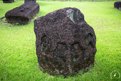 Some of of the stones exhibit face-like carvings