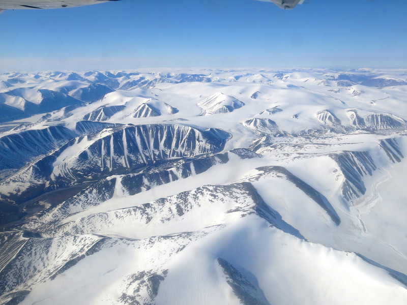 Flying out of Pond Inlet and our pilot treated us to the scenic route along Eclipse Sound and over the camp before flying on to Clyde River.