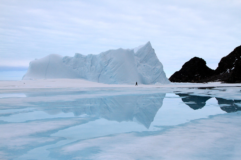 A beautiful blue iceberg fast in the frozen sea ice