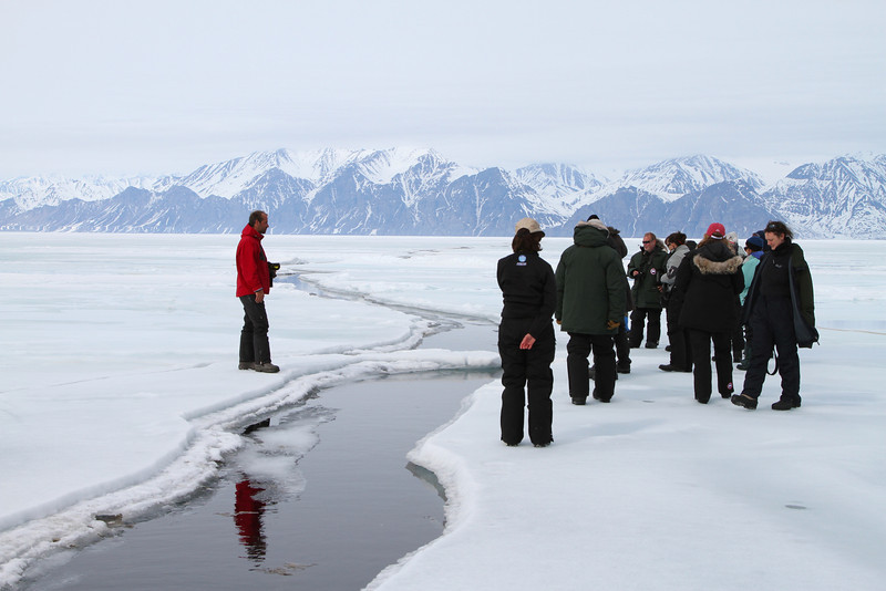 A lead in the sea ice in Eclipse Sound.  Our qamutiks had to negotiate these