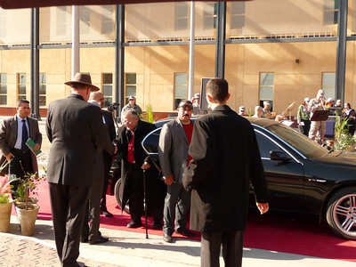 Iraq President Jalal Talabani arrives at the US Embassy for the offical opening ceremony.  January 5, 2009.