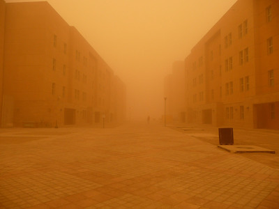 A Desert Dust Storm in Baghdad, Iraq.