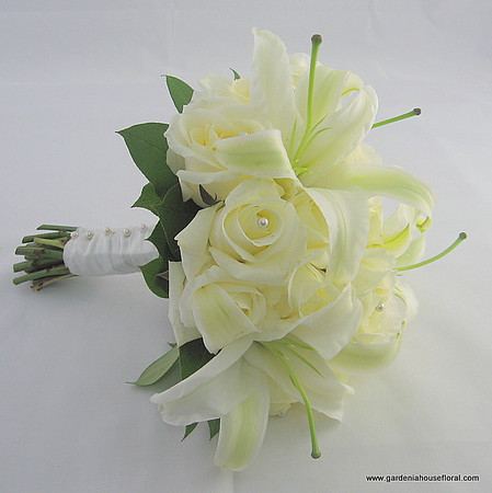 AF130 Hand tied white rose and casablanca lily bouquet