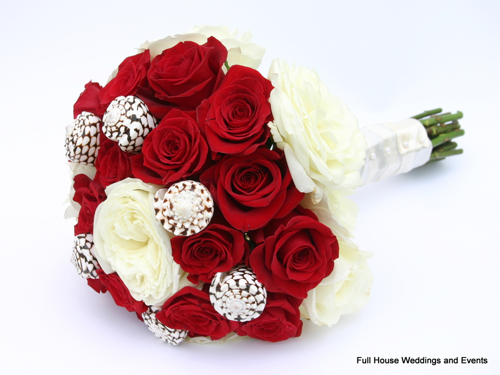 Bouquet - Red Roses and White Garden Roses with Hebrew Cone Shells