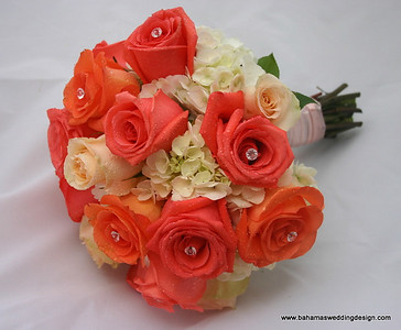 Bouquet - White Hydrangea, Orange, Coral and Peach Roses