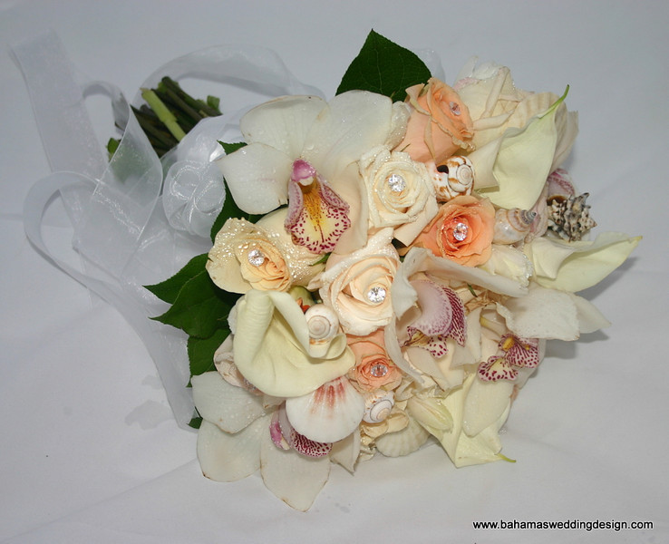 Bouquet - White Mini Calla Lilies, Dark and Pale Peach Roses, Ivory Roses, White Cymbidium Orchids, accented with seashells