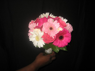 Bouquet - Hot Pink, Light Pink, White Gerbera Daisy and Pink Roses