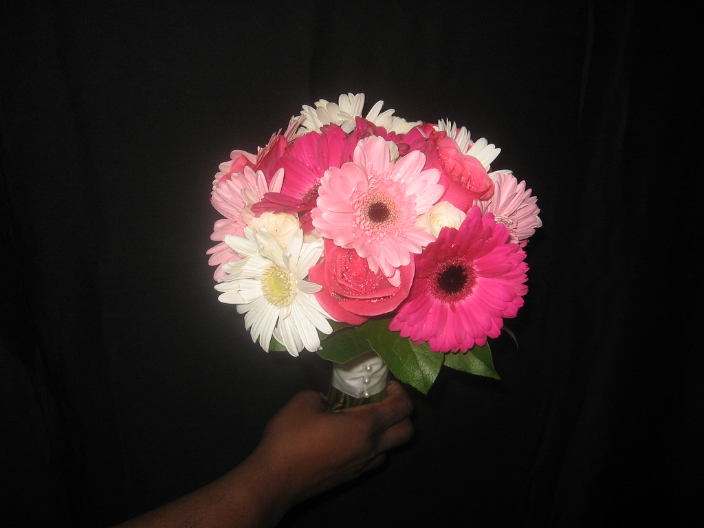 Attendants flowers fullhouseweddings bouquet hot pink light pink white gerbera daisy and pink roses mightylinksfo