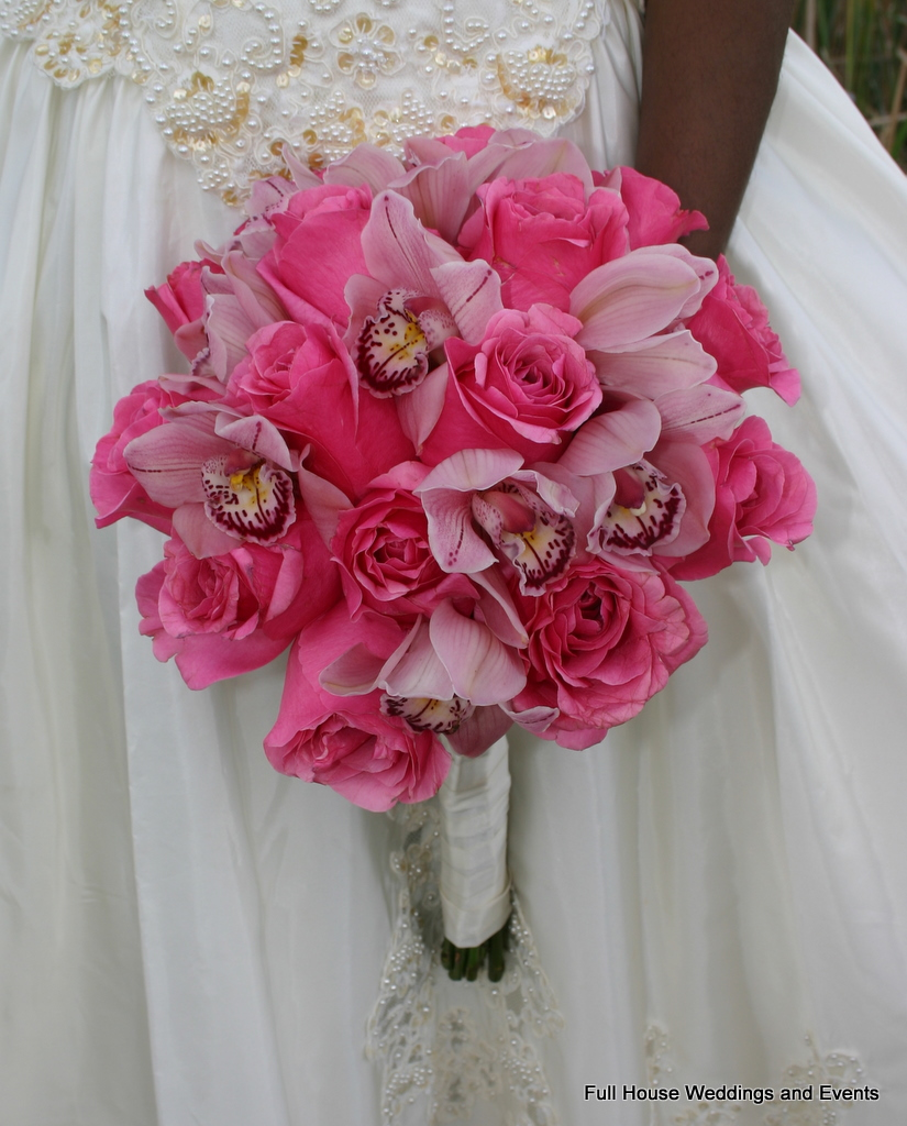 Bouquet - Pink Roses and Pink Cymbidium Orchids