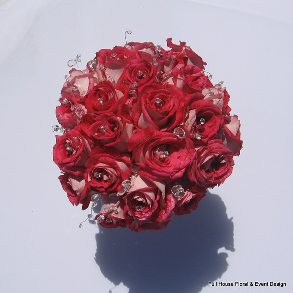 Bouquet - Bi Color Red/Pink Roses with jewel accents