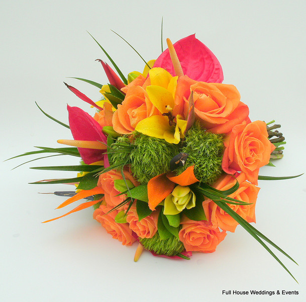 Tropical Bouquet - Orange roses, pink anthuriums, yellow lilies, haleconias, and green trick Dianthus
