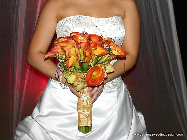 Bouquet - Mango Mini Calla Lilies, Yellow Cymbidium Orchids, Bear Grass with Crystal accents