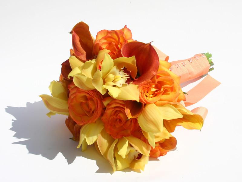 Bouquet - Bi Color Orange/Yellow Roses, Mango Calla Lilies, Yellow Cymbidium Orchids