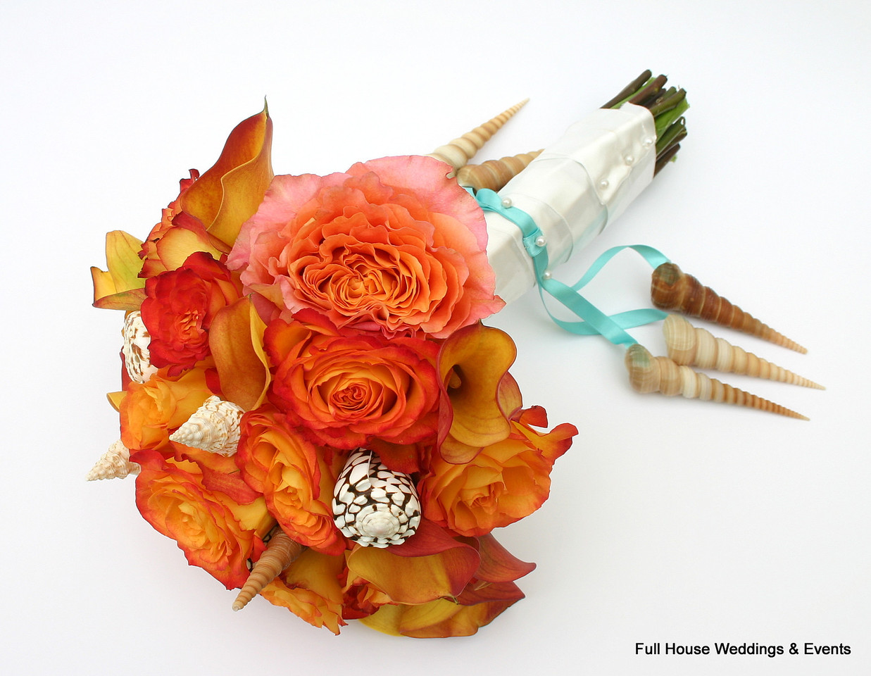 Bouquet - Bi Color Orange/Yellow Roses, Mango Calla Lilies with seashell accents