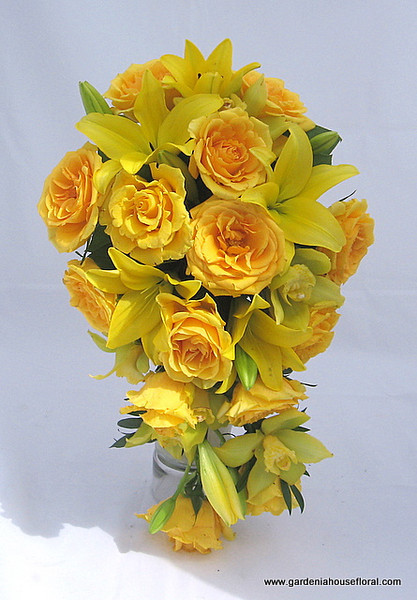 AF140 Casade bouquet with yellow roses, lilies and cymbidium orchids