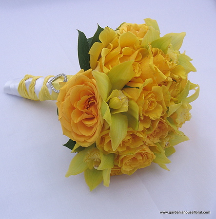 AF120 Hand Tied Yellow Rose and Cymbidium Orchid Bouquet