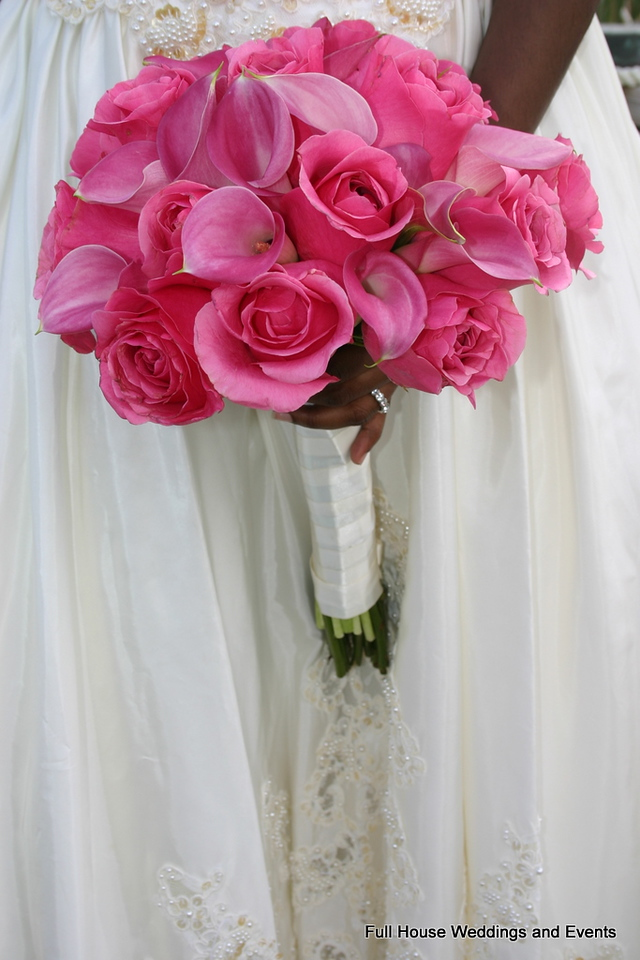 Bouquet - Pink Roses and Mini Calla Lilies