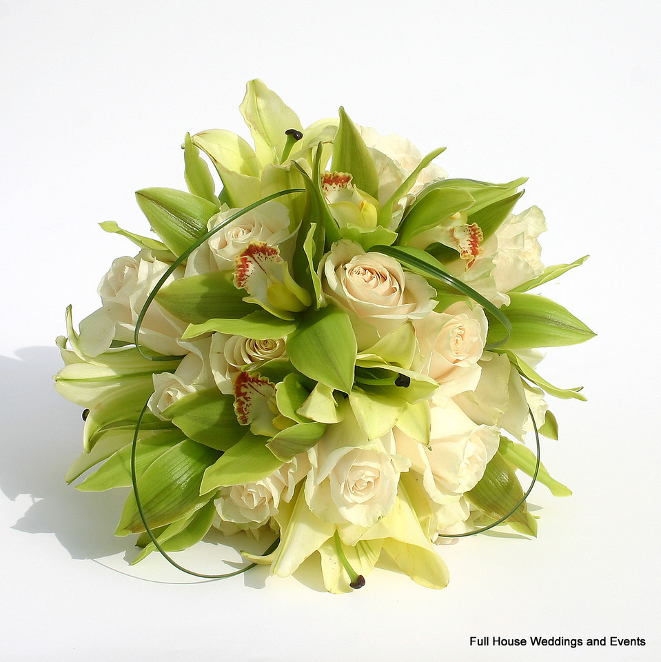 Bouquet - Ivory Roses, Ivory Oriental Lilies, Green Cymbidium Orchids w/ loops of Bear Grass