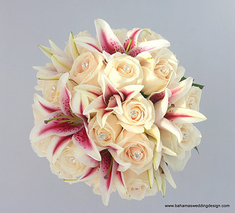 Stargazer Lilies and Ivory Roses