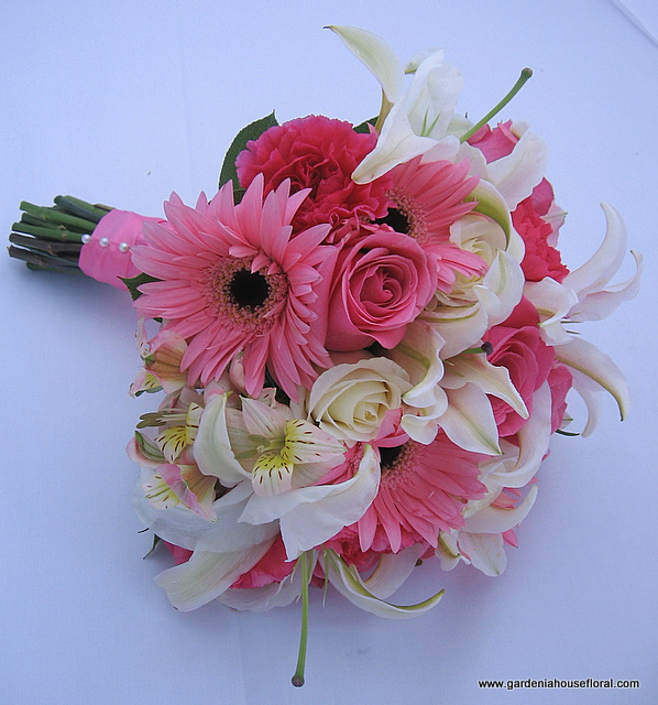 AF150 Pink and white hand tied mixed floral bouquet