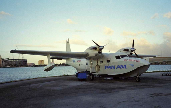 Pan Am Air Bridge Grumman G-73T Turbo Mallard N2969, January 1999 1.  Awaiting departure from Miami seaplane base to north Bimini. The aircraft was one of 59 Grumman Mallards, and had been built in 1947.  Its original Pratt & Whitney piston engines had been replaced in 1981 with Pratt & Whitney Canada turboprops.