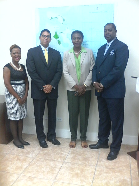 Nassau, Bahamas (July 21, 2016) — The Pan American Development Foundation (PADF) received a donation from Royal Caribbean Cruises Ltd. to support the rehabilitation of a community clinic in Crooked Island, Bahamas, that sustained severe damage in October 2015 due to Hurricane Joaquin.  Pictured from left to right:  Charo Walker-Morley, PADF program consultant  Roberto Obando, PADF program director,  Captain Stephen Russell, NEMA director  Judith Scavella, Senior Nursing Officer at the Ministry of Health  http://www.padf.org/news/2016/7/21/royal-caribbean-and-padf-restore-bahamas-clinic-damaged-by-hurricane
