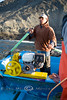 Juan working the oars keeping us safe from the rocks