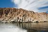 Boating past the Cliffs of the Isla Espiritu Santo off of La Paz, Baja California Sur, Mexico