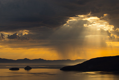 Bahia de los Angeles and the Sea of Cortez as seen from a mountain overlook shortly after an early morning thunderstorm passed through.