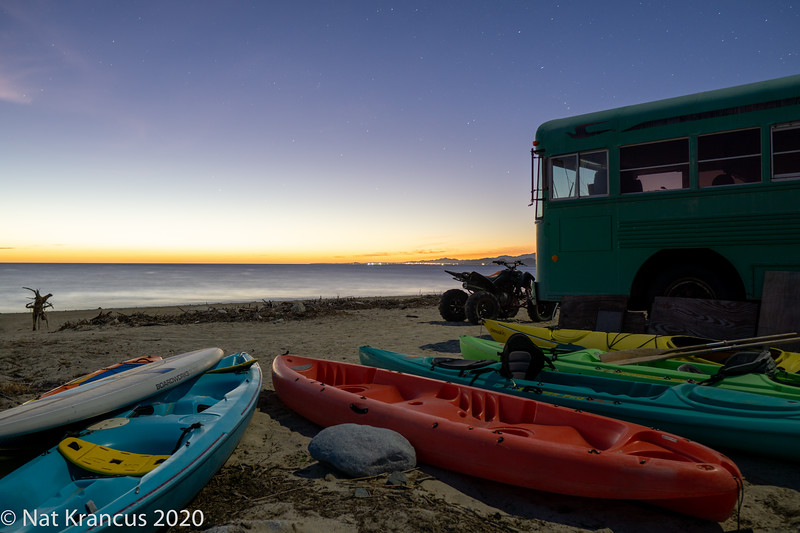 Bard's Bus at Sunrise at Los Barriles, Baja California Sur, Mexico, January 2019