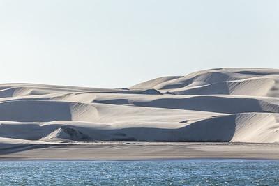 Sand dunes on the shore of  Boca de Soledad (aka Hull Canal) located north of Bahía Magdalena and just south La Entrada, the entrance into the Pacific Ocean.  Baja California Sur, Mexico.