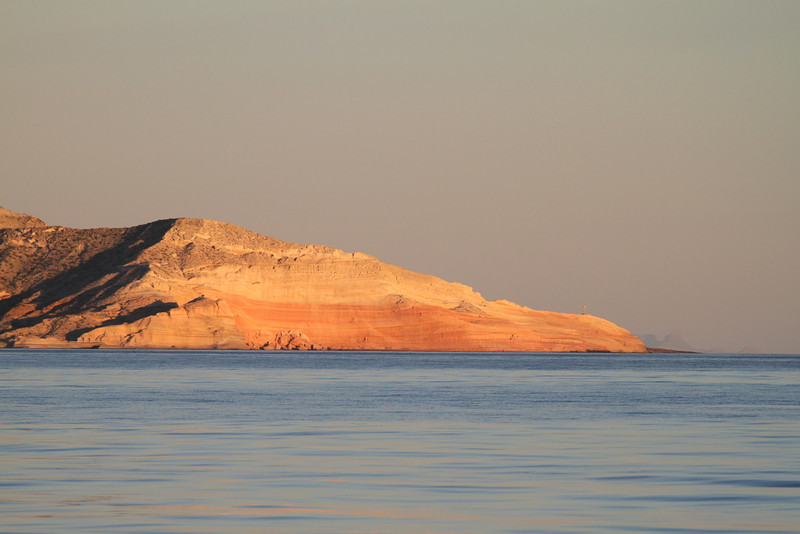 Sunrise illuminating Punta Colorada on Isla San Jose
