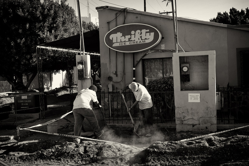 "Road work in Loreto never ceases, at least you can have a ""Thrifty Ice Cream"" to cool off!"