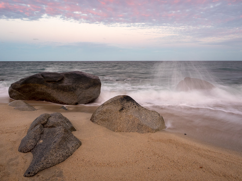 Three Rocks, Breaking Waves, and Pink Clouds