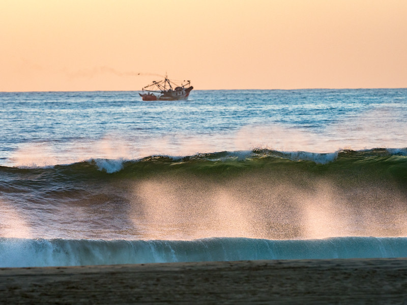 Big Waves Crashing and Shrimp Trawler
