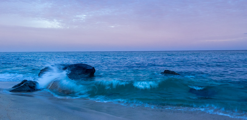 Breaking Waves and Pinkish Sky