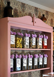 Jars of assorted candies behind the counter
