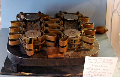 Hand-turned ribbon candy machine (circla 1890) still used in the kitchens at Ye Olde Pepper Companie.