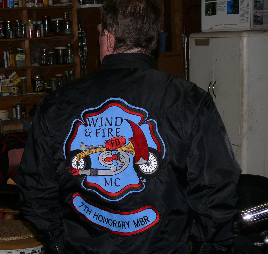 Dave is proud to be an honory member of the Wind and Fire Motorcylce Club.  The club is comprised entirely of firement who ride Harley Davidsons, and very few people are made honoray members.