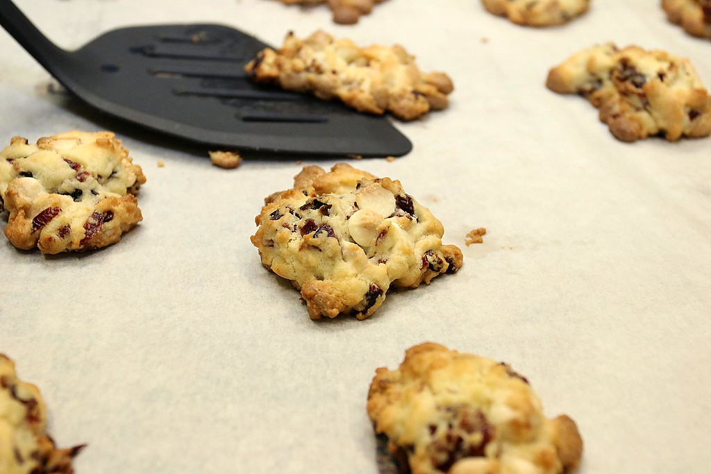 . Students at the Boys & Girls Club of North Central MA learned to make winning cranberry chip cookies with Program Instructor Sharon Jorgensen who the students called Chef Sharon. The cookies just after they came out of the oven. SENTINEL & ENTERPRISE/JOHN LOVE