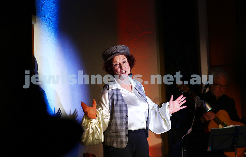 18-6-16. Balaganeyden - a Polish Yiddish Caberet night. Kadimah Hall. Avremi the pick pocket performed by Evelyn Krape. Photo: Peter Haskin