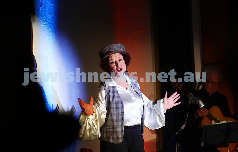 18-6-16. Balaganeyden - a Polish Yiddish Caberet night. Kadimah Hall. Avremi the pick pocket performed by Evelyn Krape. Photo: Peter Haskin