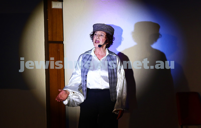 18-6-16. Balaganeyden - a Polish Yiddish Cabaret night. Kadimah Hall. Avremi the pick pocket performed by Evelyn Krape. Photo: Peter Haskin